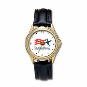 Sleek 2-tone Dress Watch with genuine leather band, Japanese quartz movement. USA assembly.