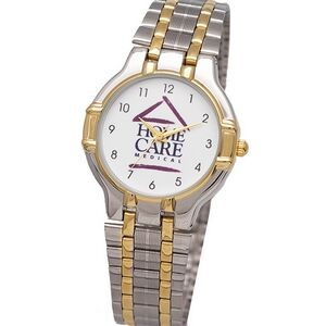 Elegant Bracelet Watch with dual tone metal case, polished bands with sliding buckle, Japan movement