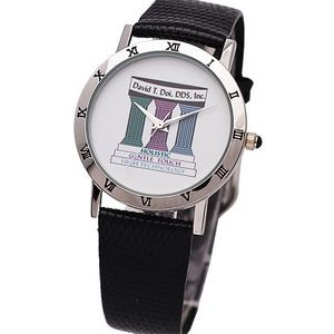 Elite Dress Watch with silver bezel decorated with Roman numbers,genuine leather band,Japan movement