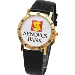 Elite Dress Watch with gold bezel decorated with Roman numerals, genuine leather band,Japan movement