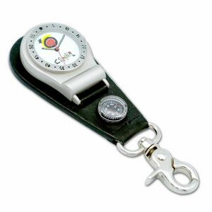 Unisex Clip-On Watch with matt finish chrome case, black leather badge with mini compass