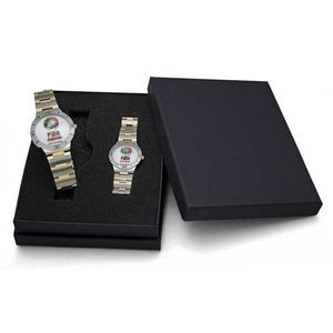 Sporty Design Bracelet Watch Set with Dual Tone Band & Secure Clasp Closure