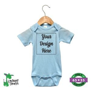 Baby Short Sleeve Bodysuits - Blue, Pink, Yellow, Mint - 65% Poly/35% Cotton - The Laughing Giraffe®