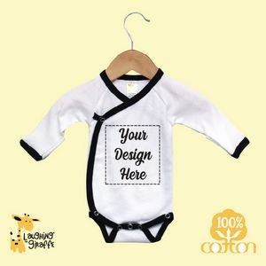 Baby Kimono Bodysuits w/Foldover Mittens - White w/Black Trim - 100% Cotton - The Laughing Giraffe®