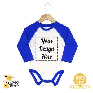 Baby Raglan Bodysuits - White with Blue Long Sleeves - 100% Cotton - The Laughing Giraffe®