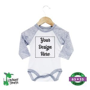 Baby Raglan Bodysuits - White w/Gray Short Sleeves - 65% Poly/35% Cotton - The Laughing Giraffe®