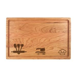 "11"" x 17"" Cherry Cutting Board with Juice Groove"