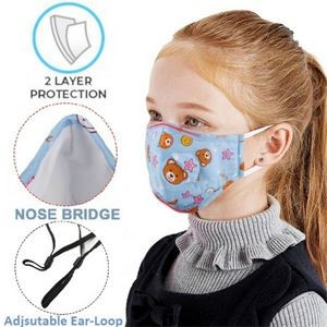 Kids Face Mask w/Full Color Custom Logo 2-Layer Safety Masks